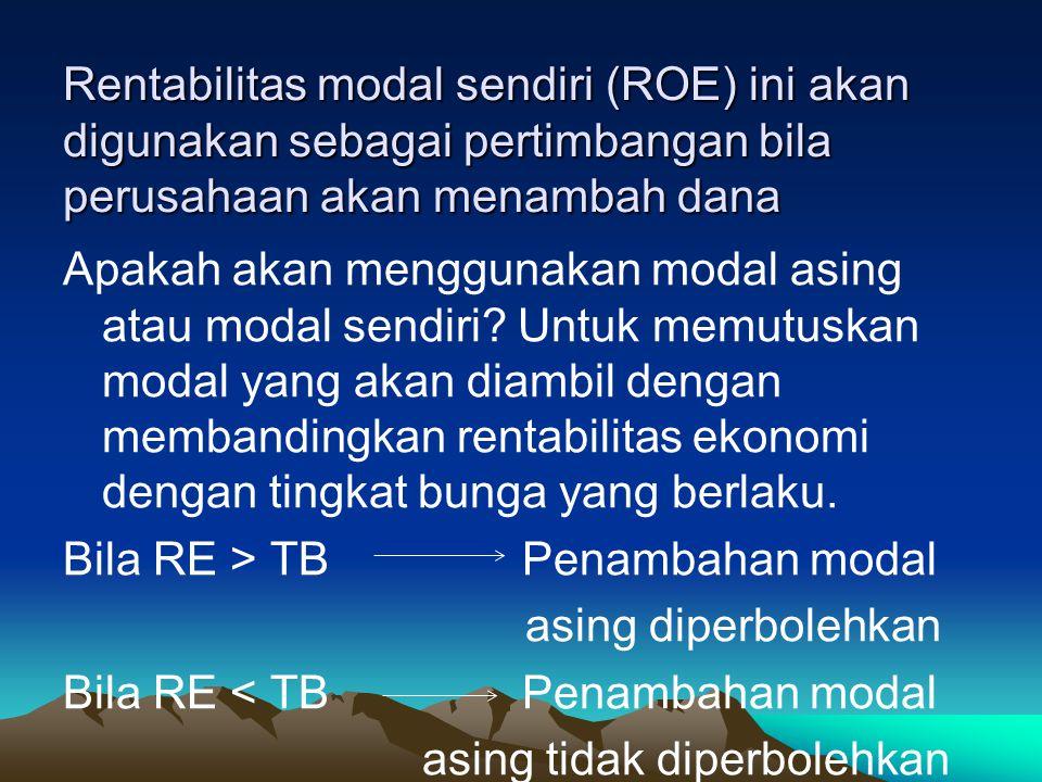 Rentabilitas modal sendiri (ROE) ini akan digunakan sebagai pertimbangan bila perusahaan akan menambah dana