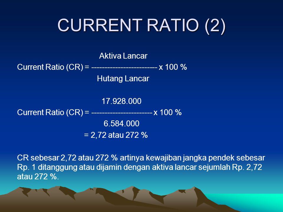 CURRENT RATIO (2) Aktiva Lancar