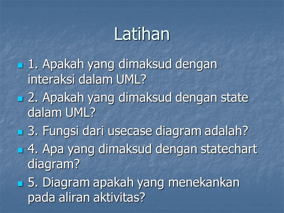 Latihan 1. Apakah yang dimaksud dengan interaksi dalam UML