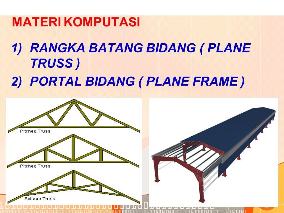 MATERI KOMPUTASI RANGKA BATANG BIDANG ( PLANE TRUSS ) PORTAL BIDANG ( PLANE FRAME )