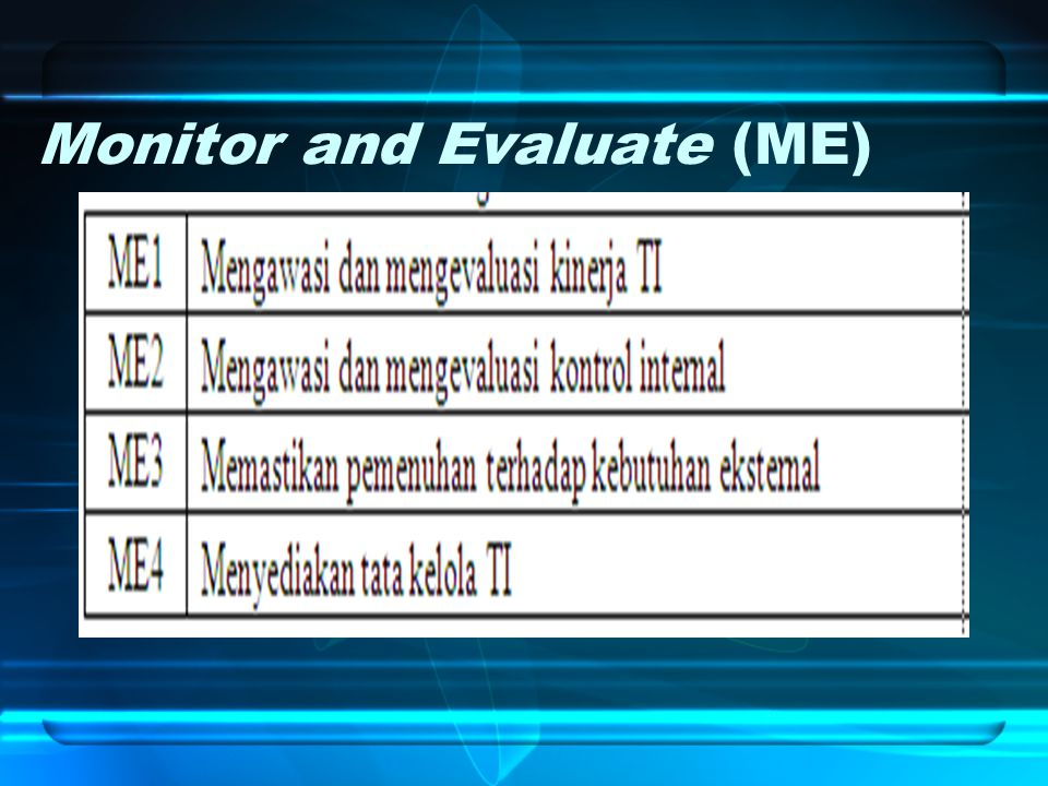 Monitor and Evaluate (ME)
