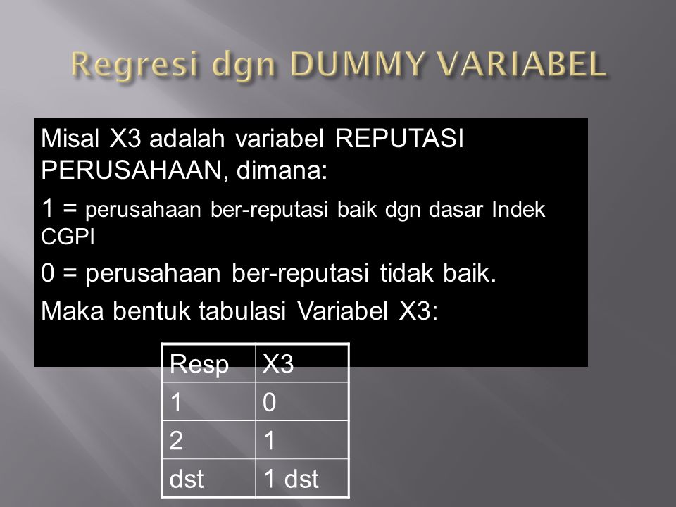 Regresi dgn DUMMY VARIABEL