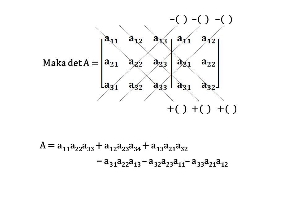 –( ) –( ) –( ) +( ) +( ) +( ) Maka det A = A = a11a22a33 + a12a23a34 + a13a21a32.