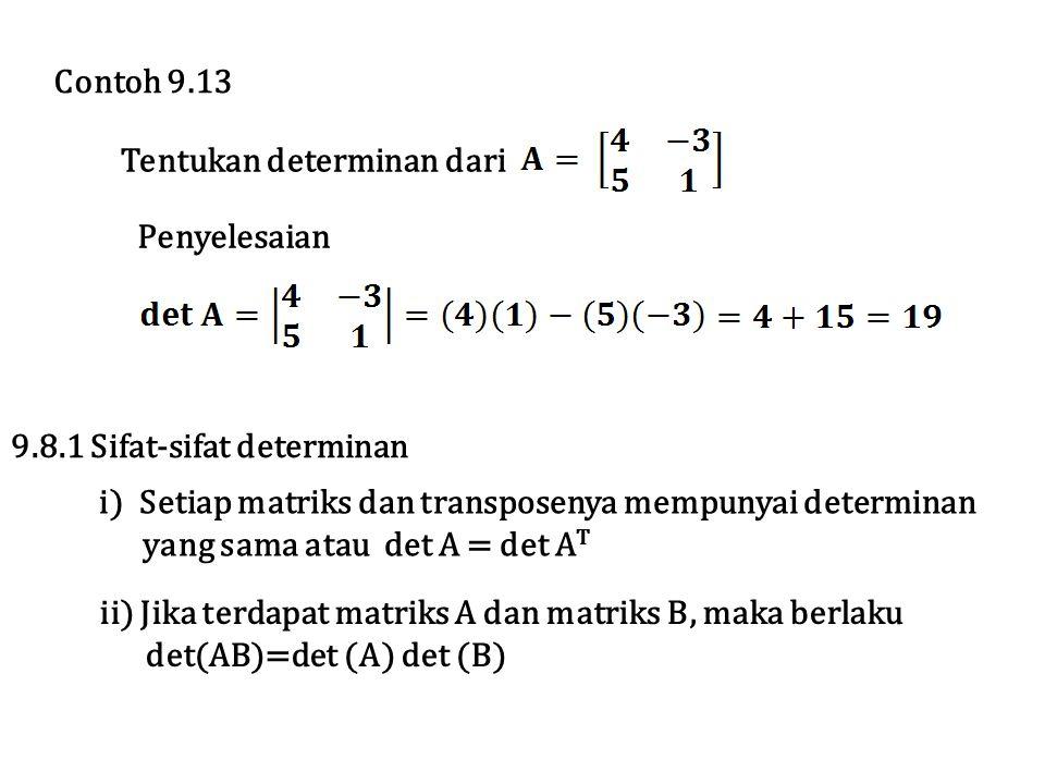 Tentukan determinan dari