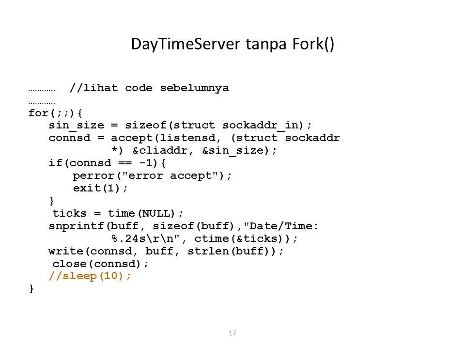 DayTimeServer tanpa Fork()