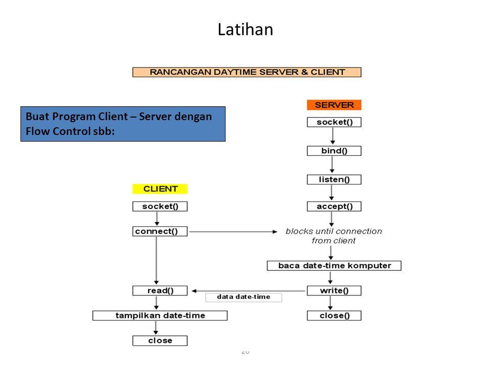 Latihan Buat Program Client – Server dengan Flow Control sbb: