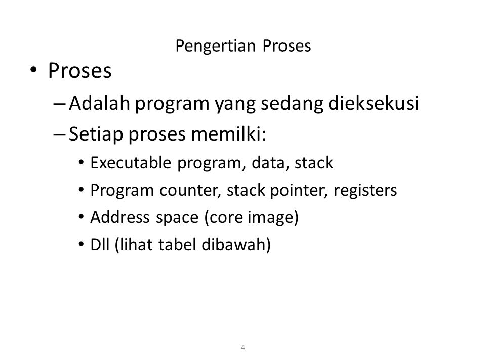Proses Adalah program yang sedang dieksekusi Setiap proses memilki: