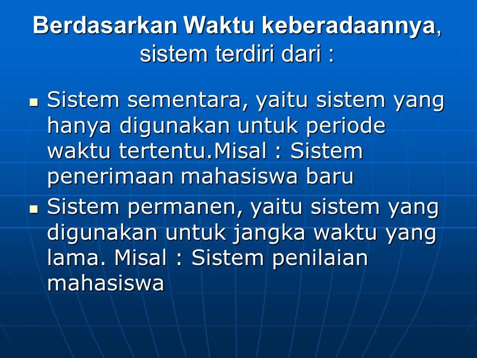Berdasarkan Waktu keberadaannya, sistem terdiri dari :