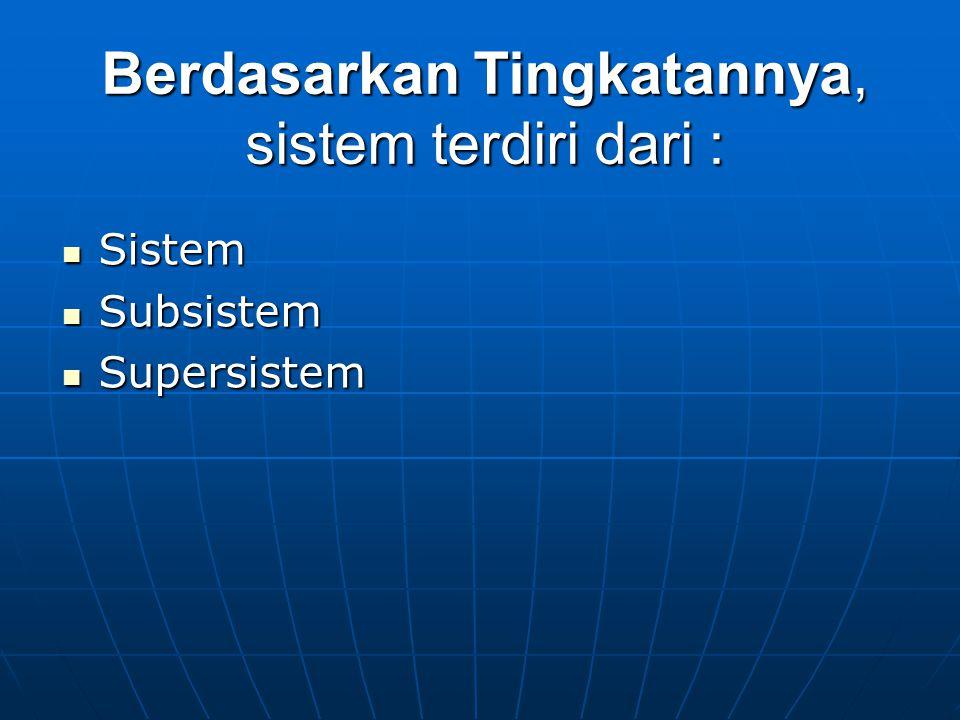 Berdasarkan Tingkatannya, sistem terdiri dari :