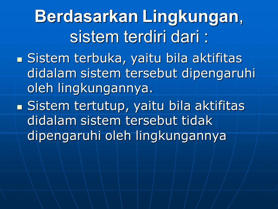 Berdasarkan Lingkungan, sistem terdiri dari :