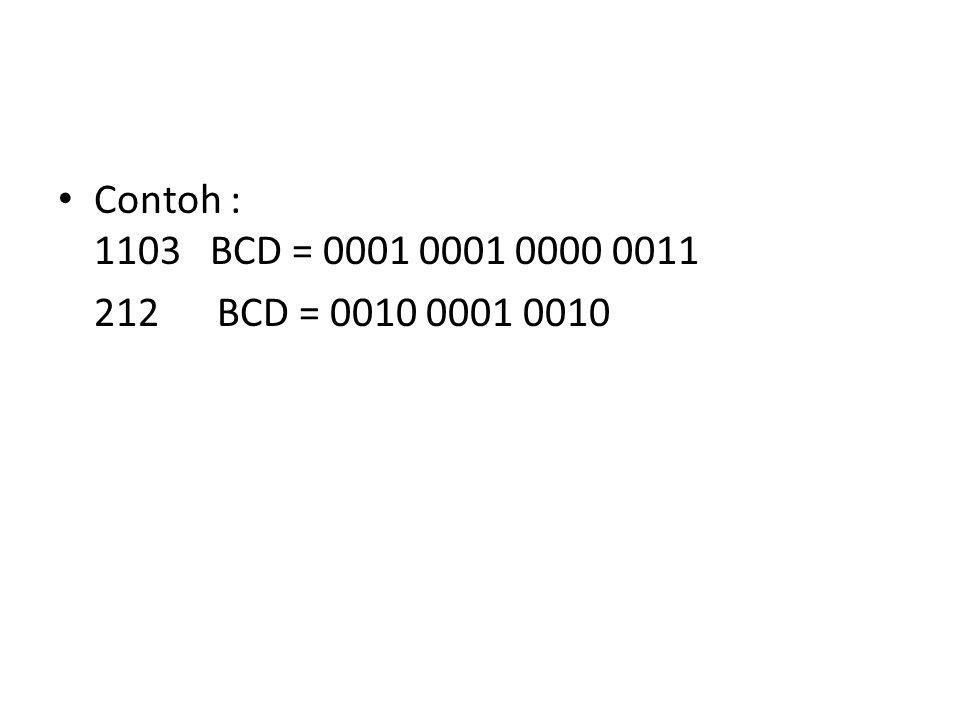 Contoh : 1103 BCD = 0001 0001 0000 0011 212 BCD = 0010 0001 0010