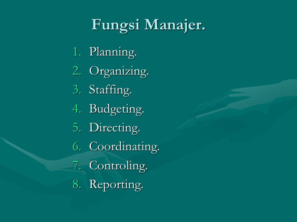 Fungsi Manajer. Planning. Organizing. Staffing. Budgeting. Directing.