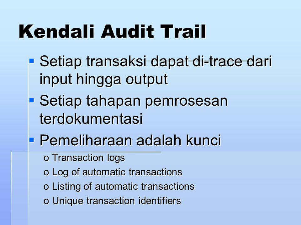 Kendali Audit Trail Setiap transaksi dapat di-trace dari input hingga output. Setiap tahapan pemrosesan terdokumentasi.