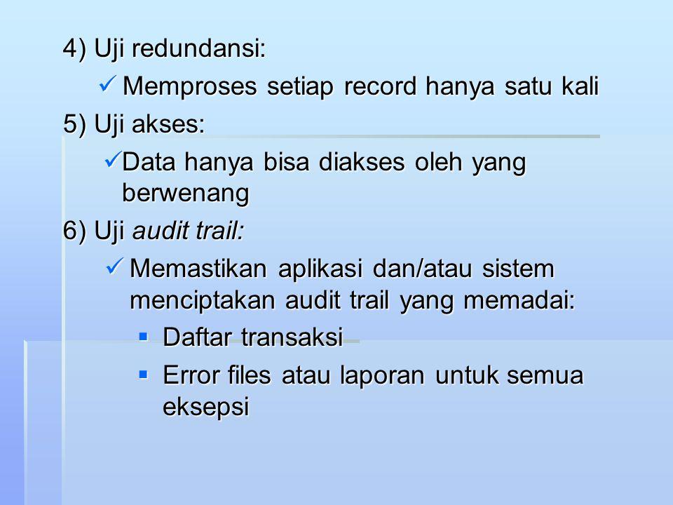 4) Uji redundansi: Memproses setiap record hanya satu kali. 5) Uji akses: Data hanya bisa diakses oleh yang berwenang.