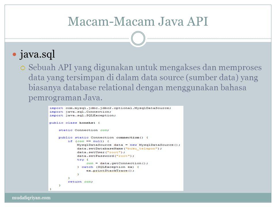 Macam-Macam Java API java.sql