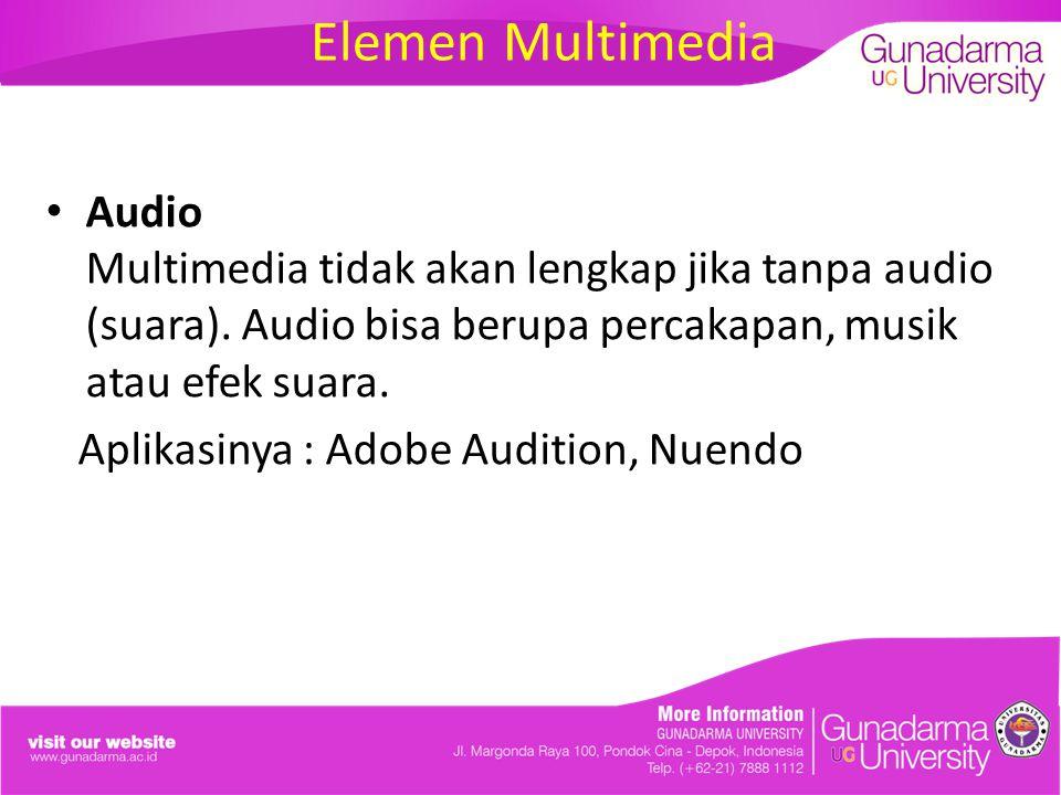 Elemen Multimedia Audio Multimedia tidak akan lengkap jika tanpa audio (suara). Audio bisa berupa percakapan, musik atau efek suara.