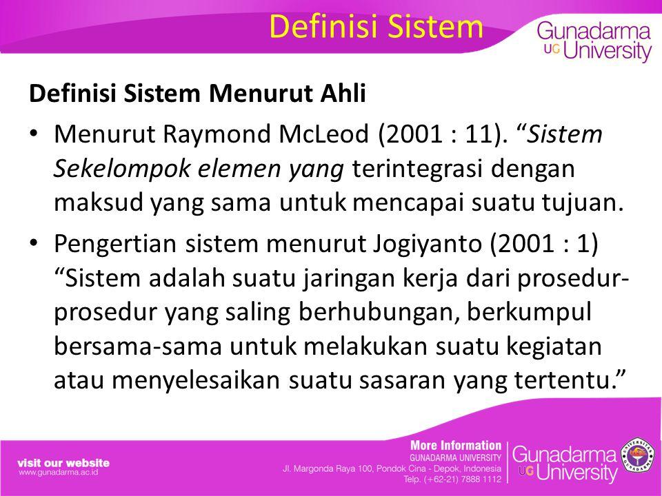 Definisi Sistem Definisi Sistem Menurut Ahli