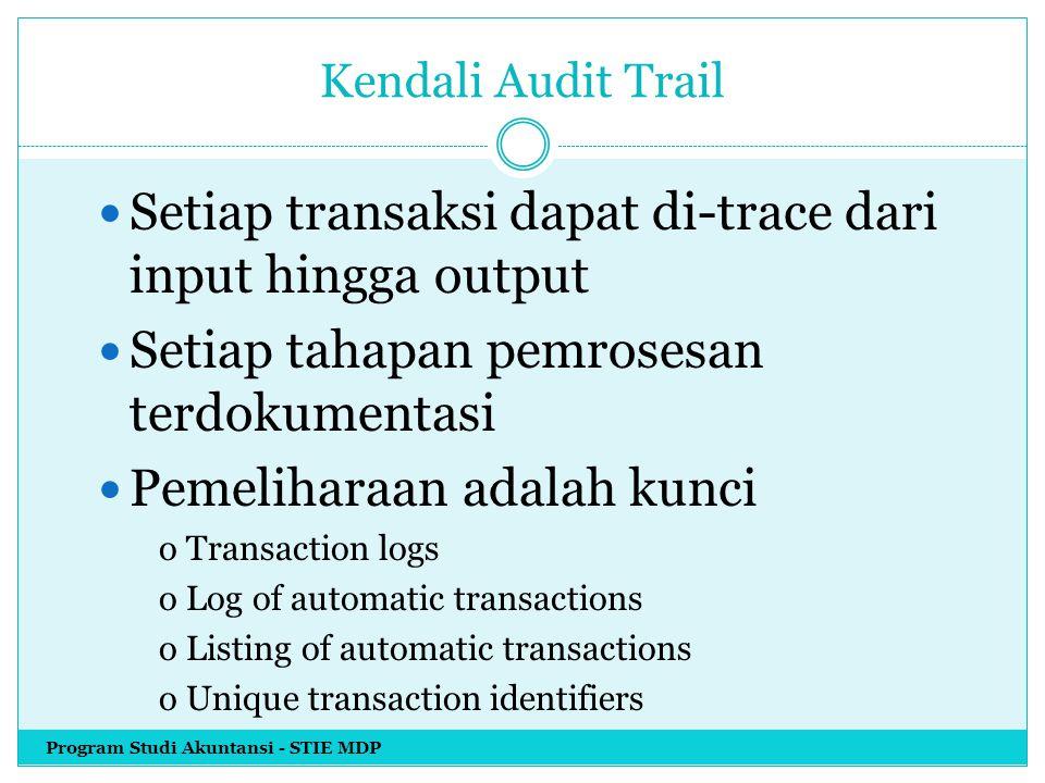 Setiap transaksi dapat di-trace dari input hingga output