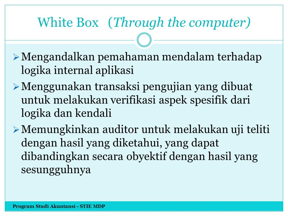 White Box (Through the computer)