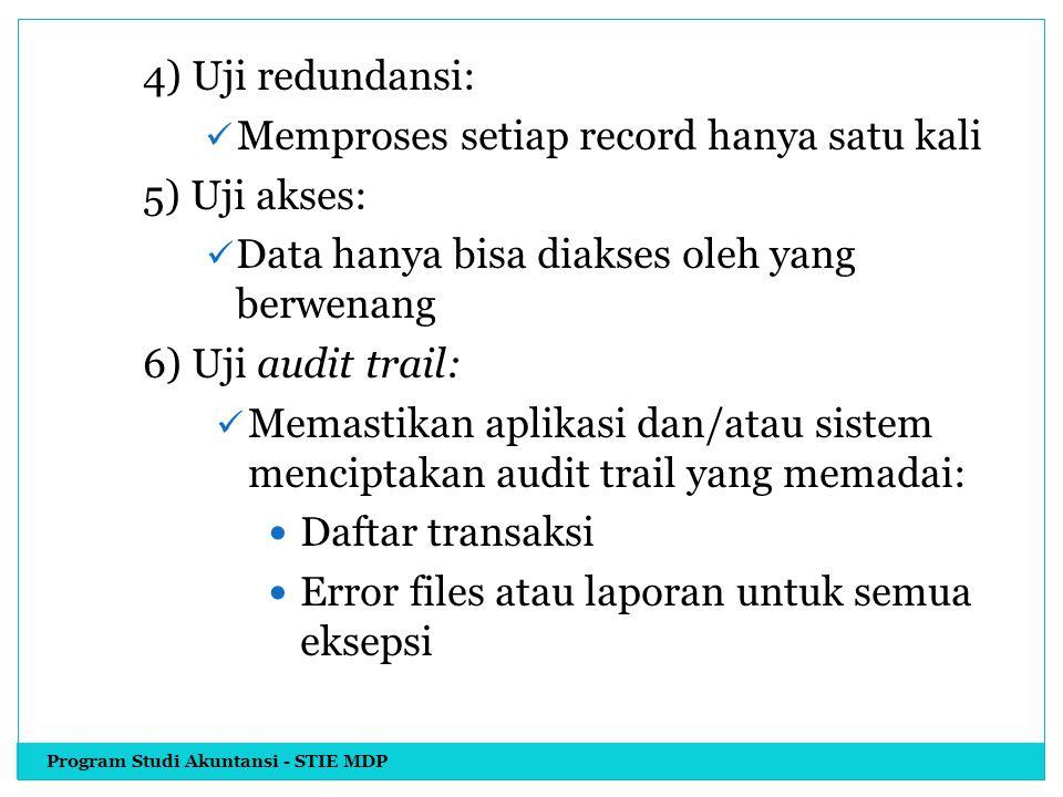 Memproses setiap record hanya satu kali 5) Uji akses: