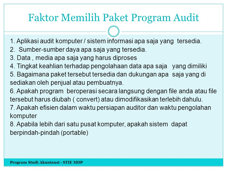 Faktor Memilih Paket Program Audit