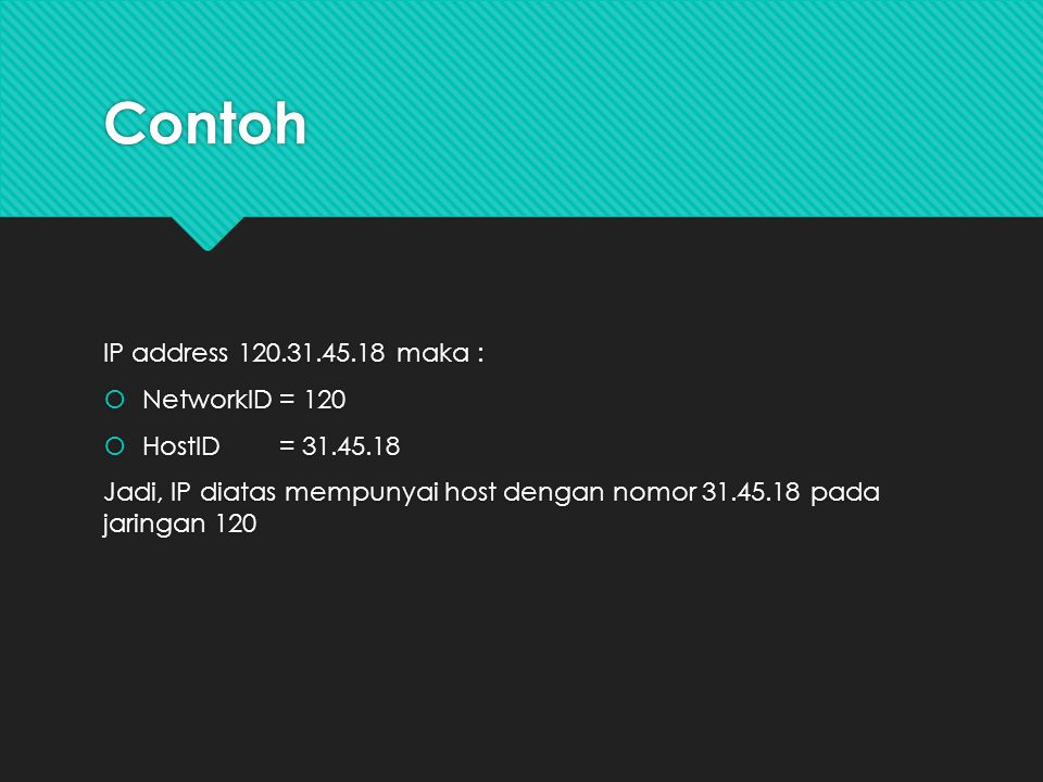 Contoh IP address 120.31.45.18 maka : NetworkID = 120