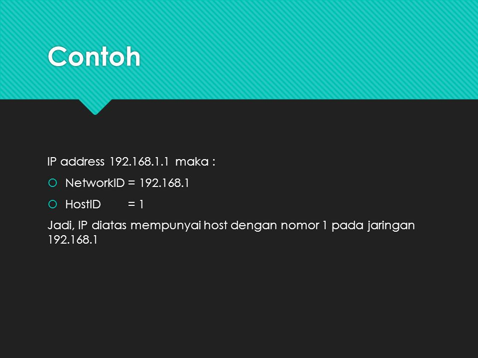 Contoh IP address 192.168.1.1 maka : NetworkID = 192.168.1 HostID = 1