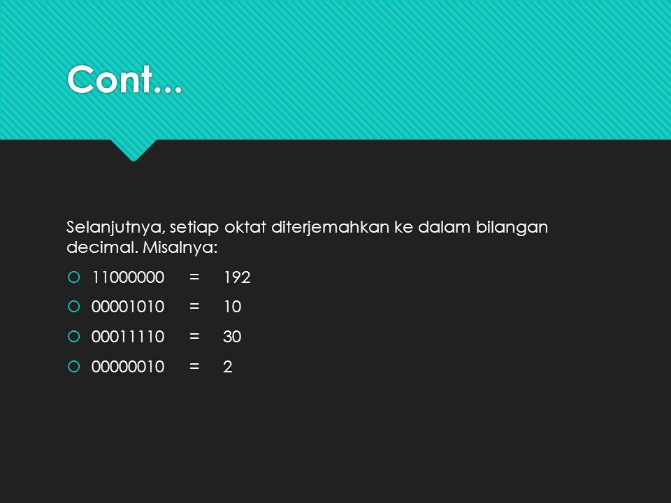 Cont... Selanjutnya, setiap oktat diterjemahkan ke dalam bilangan decimal. Misalnya: 11000000 = 192.
