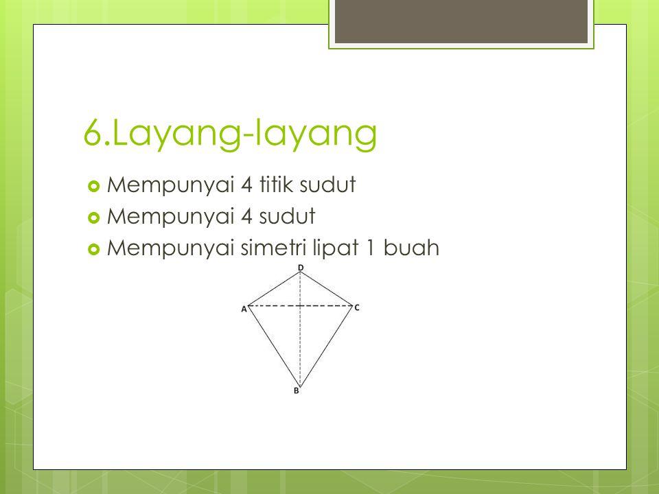 6.Layang-layang Mempunyai 4 titik sudut Mempunyai 4 sudut