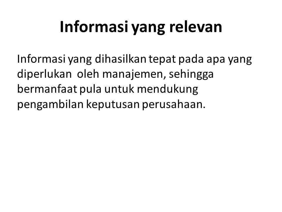 Informasi yang relevan