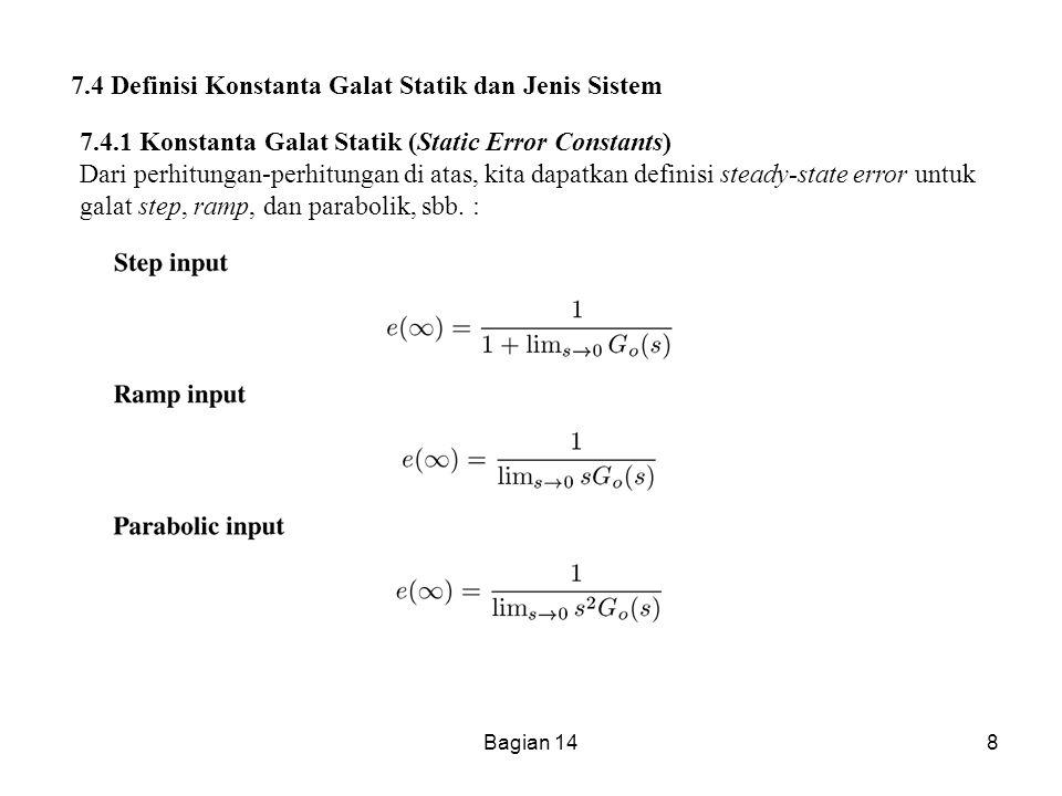 7.4 Definisi Konstanta Galat Statik dan Jenis Sistem