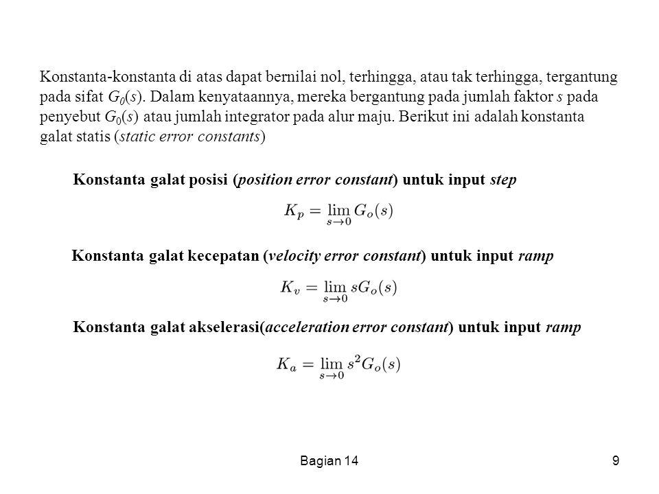 Konstanta galat posisi (position error constant) untuk input step