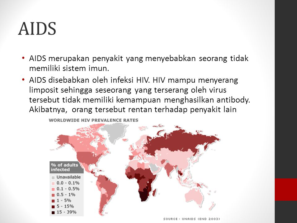 AIDS AIDS merupakan penyakit yang menyebabkan seorang tidak memiliki sistem imun.