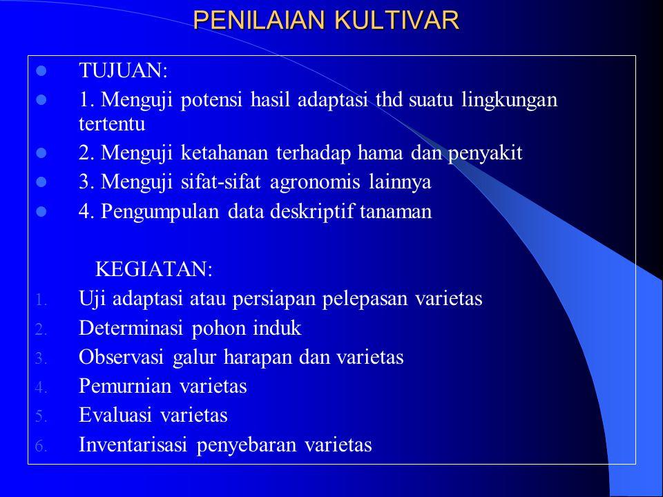 PENILAIAN KULTIVAR TUJUAN: