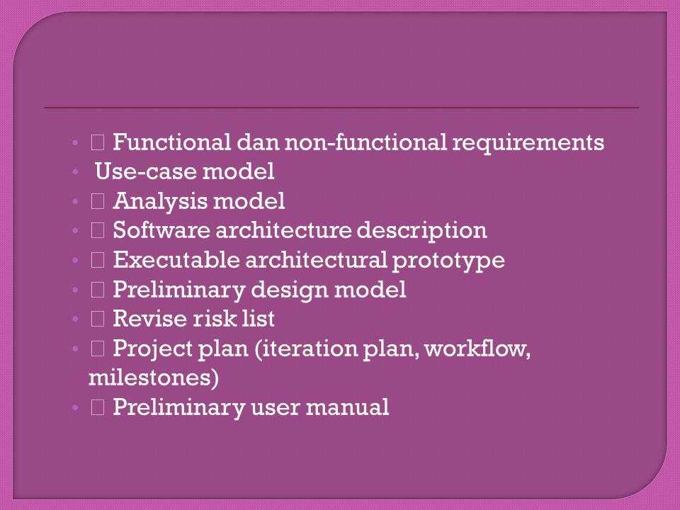 """"""" Functional dan non-functional requirements"""