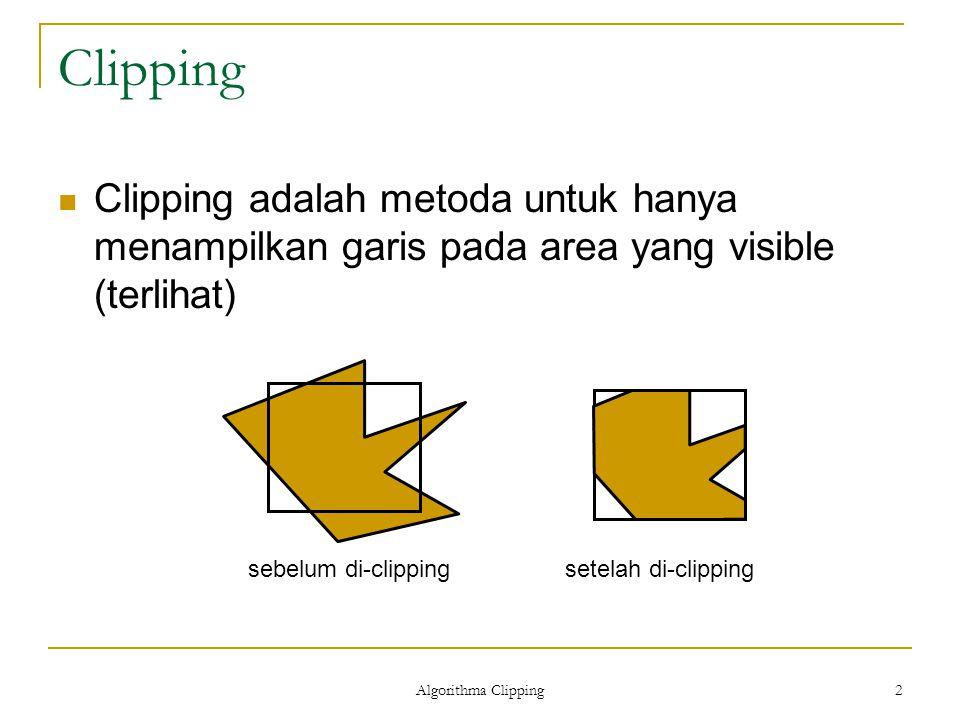 Clipping Clipping adalah metoda untuk hanya menampilkan garis pada area yang visible (terlihat) sebelum di-clipping.