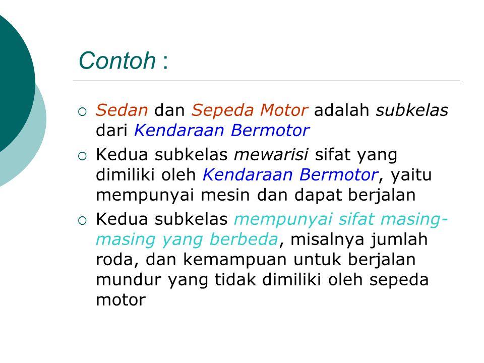 Contoh : Sedan dan Sepeda Motor adalah subkelas dari Kendaraan Bermotor.