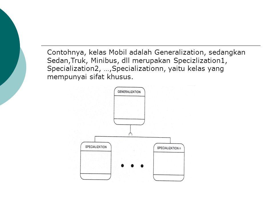 Contohnya, kelas Mobil adalah Generalization, sedangkan Sedan,Truk, Minibus, dll merupakan Specizlization1, Specialization2, …,Specializationn, yaitu kelas yang mempunyai sifat khusus.