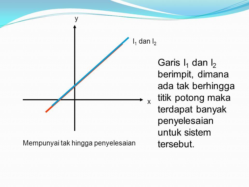 y l1 dan l2. Garis l1 dan l2 berimpit, dimana ada tak berhingga titik potong maka terdapat banyak penyelesaian untuk sistem tersebut.