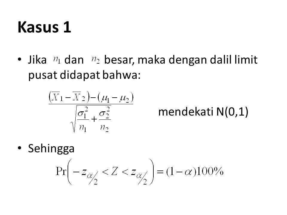 Kasus 1 Jika dan besar, maka dengan dalil limit pusat didapat bahwa: