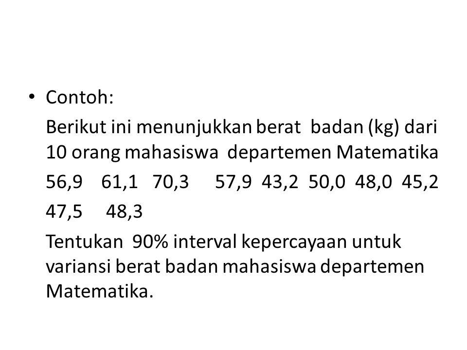 Contoh: Berikut ini menunjukkan berat badan (kg) dari 10 orang mahasiswa departemen Matematika. 56,9 61,1 70,3 57,9 43,2 50,0 48,0 45,2.