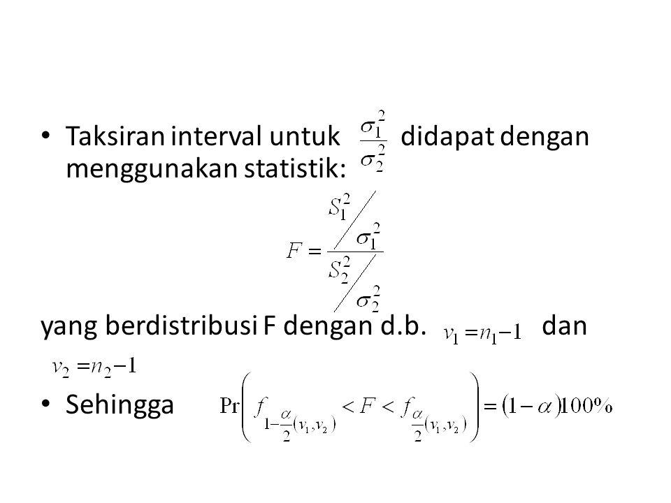 Taksiran interval untuk didapat dengan menggunakan statistik: