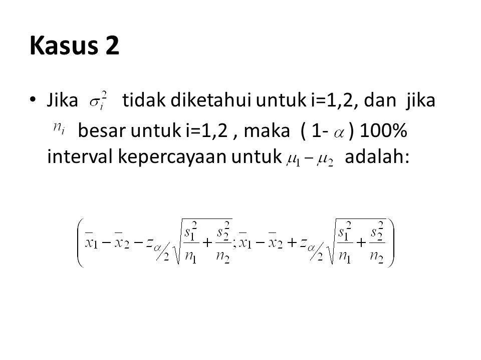Kasus 2 Jika tidak diketahui untuk i=1,2, dan jika