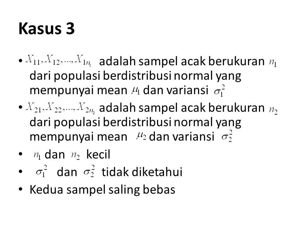 Kasus 3 adalah sampel acak berukuran dari populasi berdistribusi normal yang mempunyai mean dan variansi.