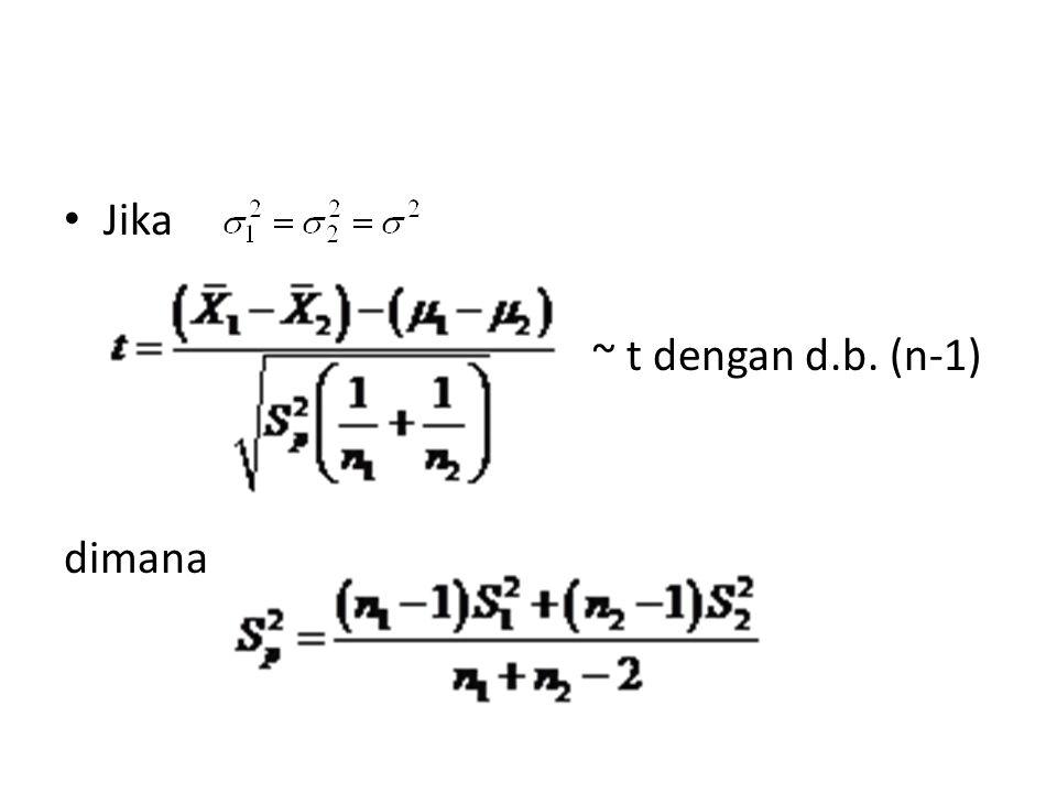 Jika ~ t dengan d.b. (n-1) dimana