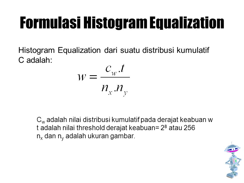 Formulasi Histogram Equalization