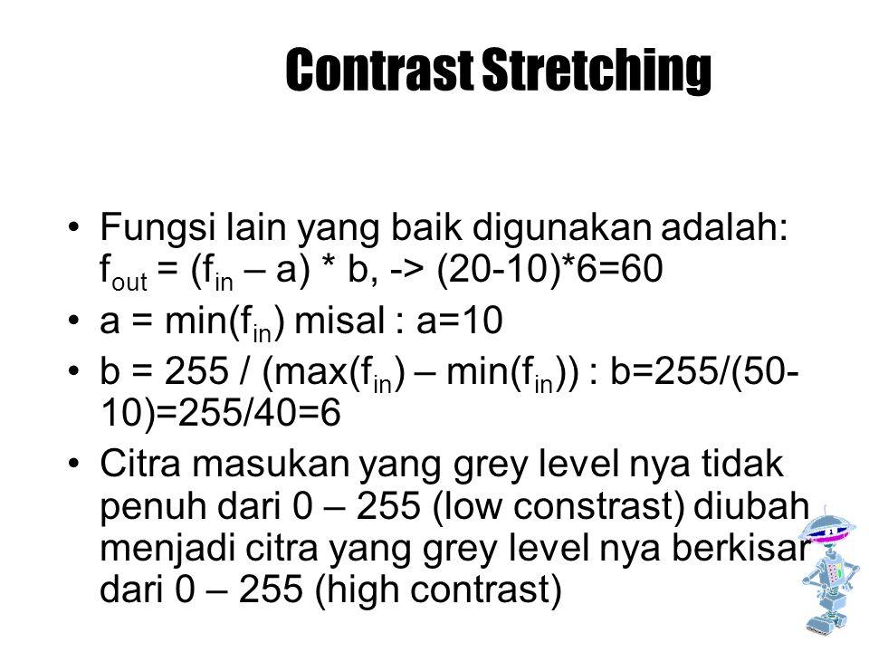 Contrast Stretching Fungsi lain yang baik digunakan adalah: fout = (fin – a) * b, -> (20-10)*6=60.