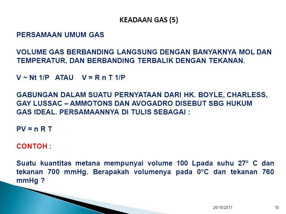 KEADAAN GAS (5) PERSAMAAN UMUM GAS