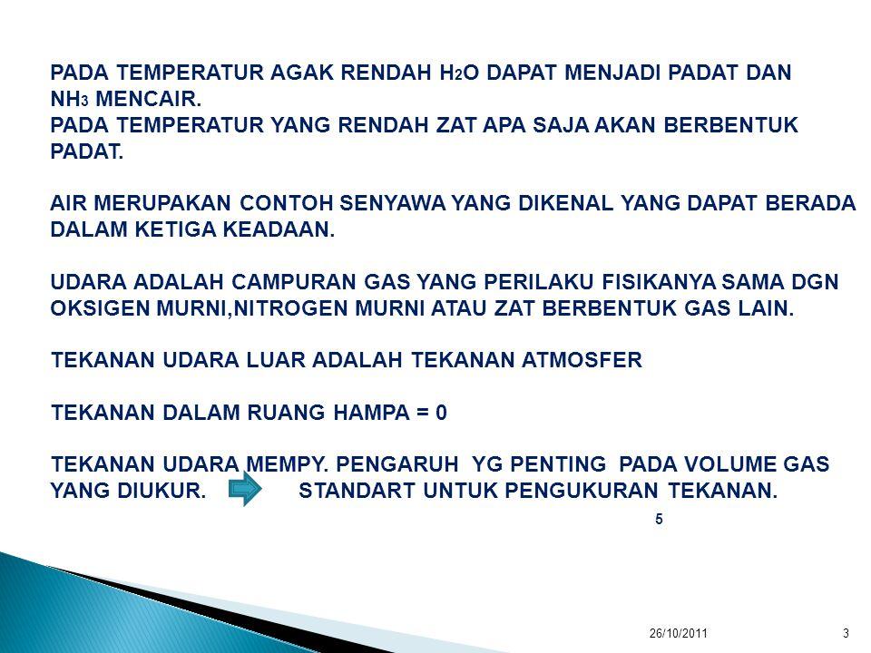 PADA TEMPERATUR AGAK RENDAH H2O DAPAT MENJADI PADAT DAN NH3 MENCAIR.