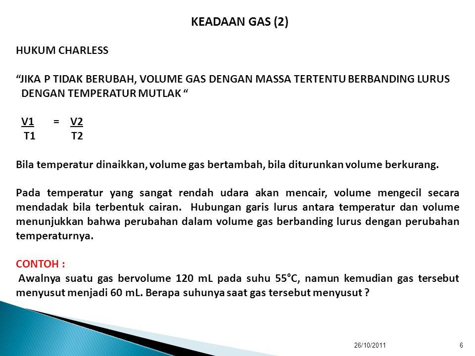 KEADAAN GAS (2) HUKUM CHARLESS